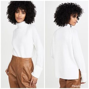 Vince Mix Stitch Funnel Neck Wool Pullover Sweater